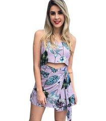 macaquinho linda d+ floral saia lilás