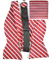 men's classic striped self bow tie bowtie+match handkerchief partys set