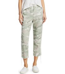 the shaker mid-rise crop fray hem camo racing stripe trousers