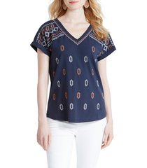 women's nic+zoe links embroidered cotton t-shirt, size x-small - blue