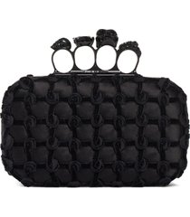 alexander mcqueen knotted rosette knuckle box clutch - black