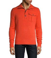 merino wool cashmere quarter-zip sweater