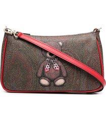 etro teddy paisley small shoulder bag - brown