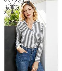 yoins botón blanco diseño blusa de manga larga con cuello de solapa a rayas