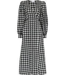 ganni seersucker check wrap midi dress - black
