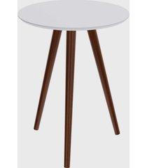 mesa lateral redonda valentinna branco/pé escuro retrô artesano