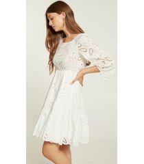 motivi vestito corto in sangallo donna bianco