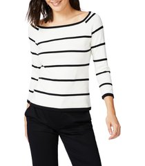 court & rowe stripe jersey sweater, size medium in antique white at nordstrom