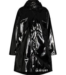 moncler pott vinyl hooded coat - black