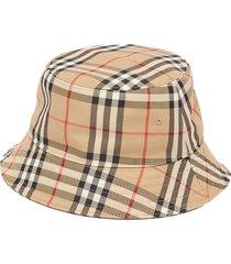 vintage-check cotton bucket hat