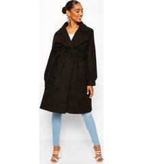 zwangerschaps wikkel jas met zakken, zwart