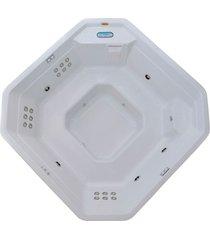 banheira spa hidromassagem meridian plus com 23 jatos 214x214x91  para 6 pessoas com aquecedor e cromo led, sem fechamento - jacuzzi® - jacuzzi®