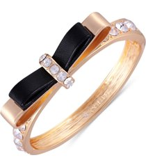 guess gold-tone crystal bow bangle bracelet