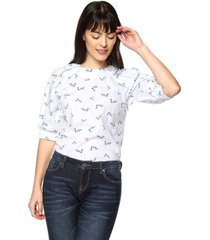 blusa birds siete para mujer - blanco