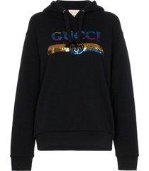 gucci sequin logo hoodie - black