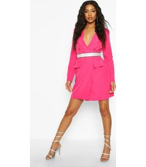 collarless double breasted blazer dress, fushia