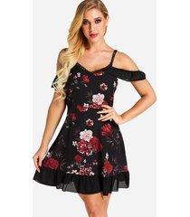 dobladillo volantes con estampado floral al azar en negro, dobladillo vestido
