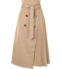 jonathan simkhai malia trench wrap skirt - brown