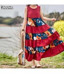 zanzea mujeres sin mangas verano del vestido del tanque del hombro de bohemia del vestido maxi plus -rojo