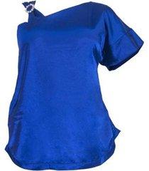 blusa cetim uma manga plus size feminina