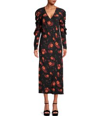 iro women's floral-print ruffled midi dress - black red - size 36 (4)