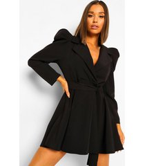 getailleerde blazer jurk met geplooide mouwen, black