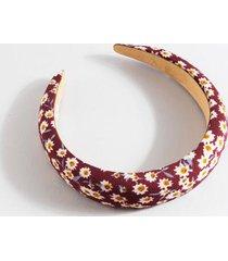 patricia puffy floral print headband - burgundy