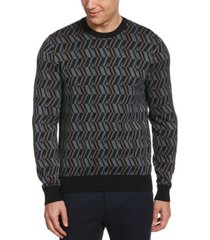 perry ellis men's patterned jacquard long sleeve crew neck sweater