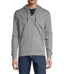 armani jeans men's stretch-cotton hoodie - grey - size xl