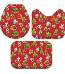 jogo tapetes para banheiro elementos natalinos único love decor