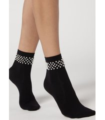 calzedonia women's opaque socks with pretty appliqué details woman black size tu