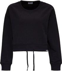 red valentino black cotton crop sweatshirt