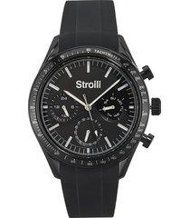 wimbledon - orologio da polso multifunzione con cassa in acciaio e cinturino nero in silicone per uomo