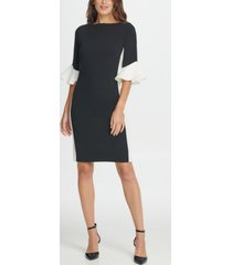 dkny colorblock bell sleeve sheath dress