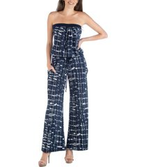 24seven comfort apparel geometric print sleeveless jumpsuit with pockets