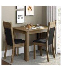 conjunto sala de jantar madesa lola mesa tampo de madeira com 2 cadeiras rustic/preto/sintético preto rustic/preto/sintético preto