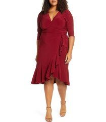plus size women's kiyonna whimsy wrap dress, size 5x - burgundy