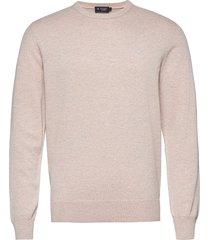 cotton silk crew stickad tröja m. rund krage rosa hackett london