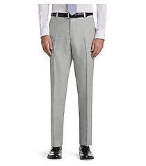 1905 collection tailored fit flat front cotton linen dress pants - big & tall clearance by jos. a. bank
