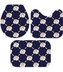 kit 3 tapetes decorativos para banheiro wevans flores marinho - azul marinho - dafiti
