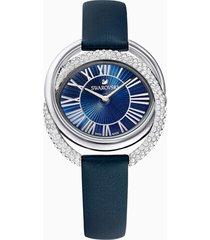 orologio duo, cinturino in pelle, azzurro, acciaio inossidabile