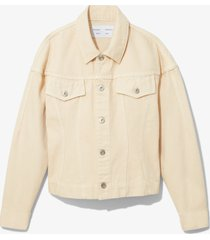 proenza schouler white label washed denim cinched jean jacket sand/white l