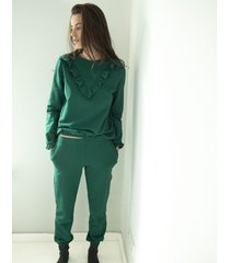 spodnie green cotton sweatpants