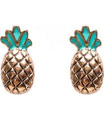 orecchini a forma di ananas carino da donna smaltati orecchini a forma di mini orecchini verdi in oro verde smaltato