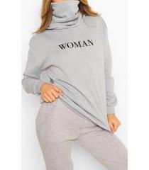 slogan hoodie with snood, grey