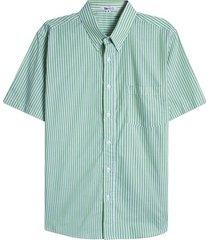 camisa a rayas con bolsillo color verde, talla s