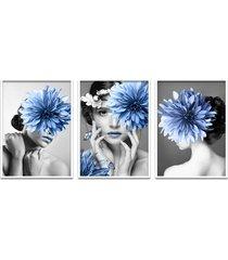quadro 60x120cm helga mulher com flores azuis moldura branca com vidro - tricae