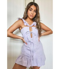 petite linnen achtige mini jurk met knoopjes, lila