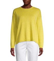 eileen fisher women's roundneck organic linen & cotton-blend sweater - yarow - size xl