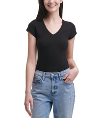 calvin klein jeans logo-patch v-neck bodysuit
